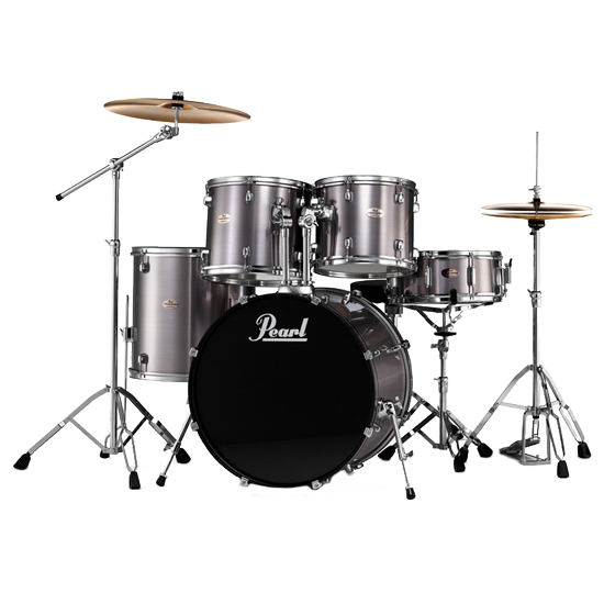 5-piece Pearl Forum drum kit with hi-hat, ride, crash cymbals (Paiste, Sabian), stool and kick pedal ($25/session)